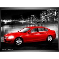Glas Schilderij Auto, BMW | Rood, Zwart, Grijs