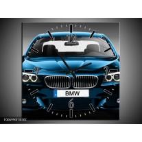 Wandklok Schilderij Auto, BMW | Blauw, Zwart, Grijs