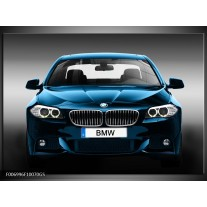 Glas Schilderij Auto, BMW | Blauw, Zwart, Grijs