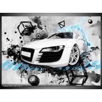 Glas Schilderij Auto, Audi | Wit, Blauw, Zwart