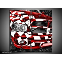 Wandklok Schilderij Auto, Dodge | Rood, Zwart