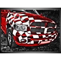 Glas Schilderij Auto, Dodge | Rood, Zwart