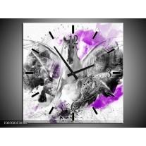 Wandklok Schilderij Paard, Abstract | Paars, Grijs, Wit