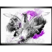 Glas Schilderij Paard, Abstract | Paars, Grijs, Wit