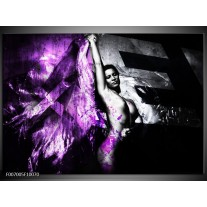 Canvas Schilderij Vrouw, Kunst | Paars, Grijs, Zwart