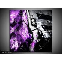 Wandklok Schilderij Vrouw, Kunst | Paars, Grijs, Zwart