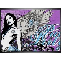 Canvas Schilderij Vrouw, Popart | Paars, Grijs, Blauw