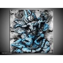 Wandklok Schilderij Boeddha, Beeld | Blauw, Grijs, Zwart