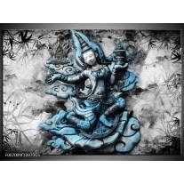 Glas Schilderij Boeddha, Beeld | Blauw, Grijs, Zwart
