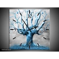 Wandklok Schilderij Boom, Abstract | Blauw, Grijs, Wit