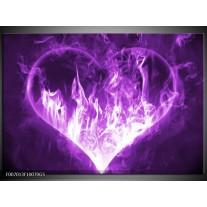 Glas Schilderij Hart, Vuur | Paars, Wit