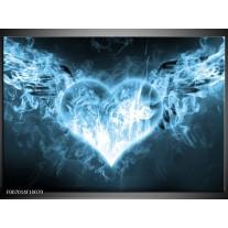 Canvas Schilderij Hart, Vuur | Blauw, Wit