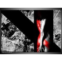 Canvas Schilderij Vrouw, Kunst | Rood, Zwart, Grijs