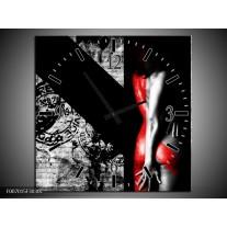 Wandklok Schilderij Vrouw, Kunst | Rood, Zwart, Grijs