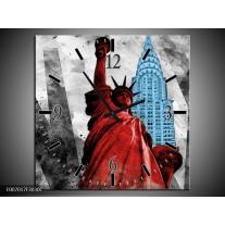 Wandklok Schilderij New York, Vrijheidsbeeld | Rood, Grijs, Blauw