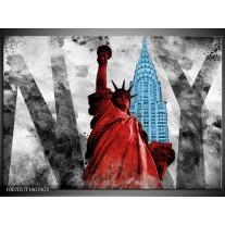Glas Schilderij New York, Vrijheidsbeeld | Rood, Grijs, Blauw