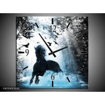 Wandklok Schilderij Paard, Dieren | Blauw, Zwart, Wit
