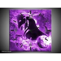 Wandklok Schilderij Paard, Abstract | Paars, Zwart, Wit