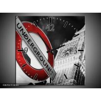 Wandklok Schilderij Underground, England   Grijs, Rood, Zwart