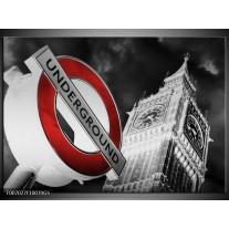 Glas Schilderij Underground, Engeland | Grijs, Rood, Zwart
