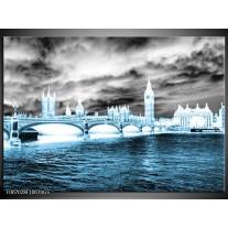 Glas Schilderij Engeland, London | Blauw, Grijs, Wit