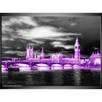 Glas Schilderij Engeland, London | Paars, Zwart, Wit