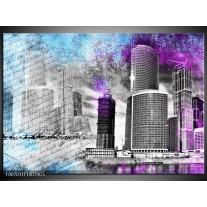 Glas Schilderij Steden | Grijs, Paars, Blauw