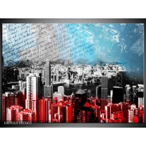Glas Schilderij Steden | Grijs, Rood, Blauw