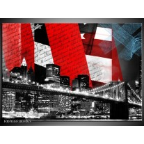 Glas Schilderij Steden, Brug | Zwart, Wit, Rood