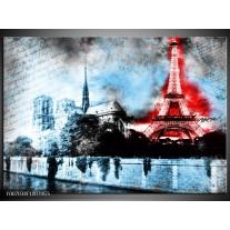 Glas Schilderij Parijs, Eiffeltoren | Blauw, Rood, Zwart
