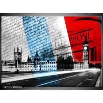 Glas Schilderij Engeland, London | Zwart, Blauw, Rood