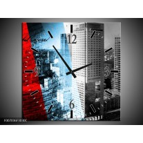 Wandklok Schilderij Steden, Wolkenkrabber | Zwart, Blauw, Rood