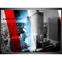 Glas Schilderij Steden, Wolkenkrabber | Zwart, Blauw, Rood