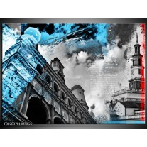 Glas Schilderij Steden | Zwart, Blauw, Rood