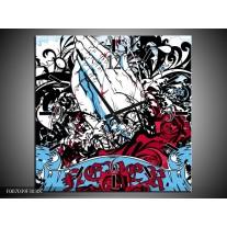 Wandklok Schilderij Popart, Handen   Blauw, Rood, Zwart