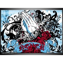 Glas Schilderij Popart, Handen | Blauw, Rood, Zwart