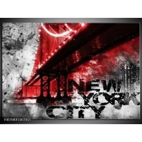 Glas Schilderij New York, Brug | Rood, Zwart, Wit