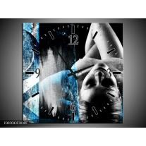 Wandklok Schilderij Vrouw, Kunst | Zwart, Wit, Blauw