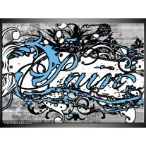 Glas Schilderij Popart | Zwart, Wit, Blauw