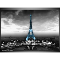 Glas Schilderij Parijs, Eiffeltoren | Zwart, Wit, Blauw