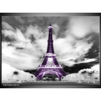 Canvas Schilderij Parijs, Eiffeltoren   Zwart, Wit, Paars