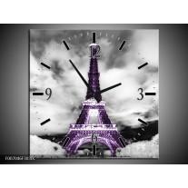 Wandklok Schilderij Parijs, Eiffeltoren | Zwart, Wit, Paars