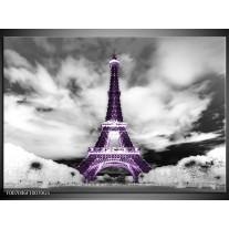Glas Schilderij Parijs, Eiffeltoren | Zwart, Wit, Paars