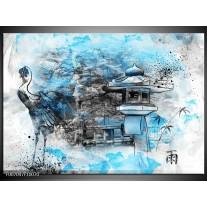 Canvas Schilderij Vogel, Chinese gebouw | Blauw, Zwart, Wit