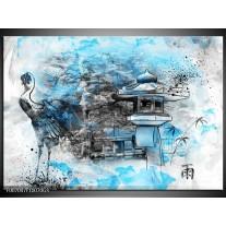 Glas Schilderij Vogel, Chinese gebouw | Blauw, Zwart, Wit