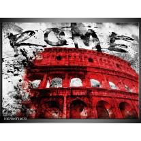 Canvas Schilderij Italie, Rome | Rood, Zwart, Wit