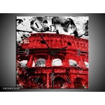 Wandklok Schilderij Italie, Rome | Rood, Zwart, Wit