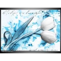Glas Schilderij Tulpen, Bloemen | Blauw, Wit