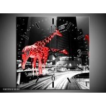 Wandklok Schilderij Steden, Giraffe | Zwart, Wit, Rood
