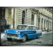 Glas Schilderij Oldtimer, Auto | Blauw, Groen, Grijs